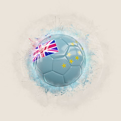 Grunge football with flag of tuvalu