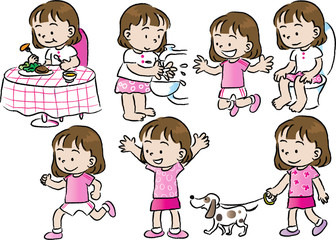cartoon kids life set