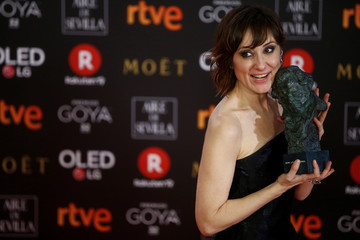 Nathalie Poza, who won the Best Actress award, holds her trophy during the Spanish Film Academy's Goya Awards ceremony in Madrid