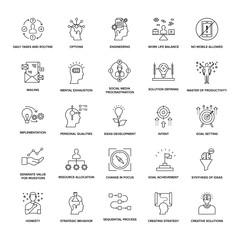 Project Management Line Icons Set