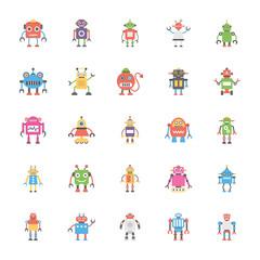A Pack Of Robotics Flat Vector Icons