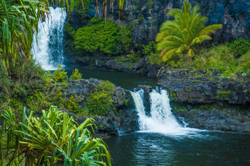Waterfall scene on Maui