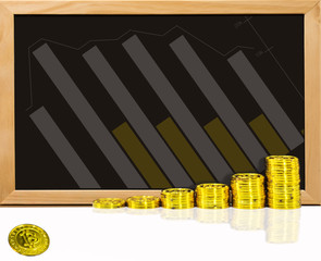 Bitcoin with graph on chalkboard. Concept investment electronic money for future.