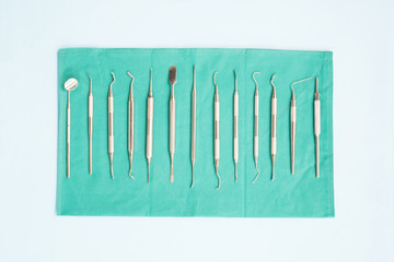 dental tools surgical kit in the clinic or office use for dentis; flat lay; top vipw.
