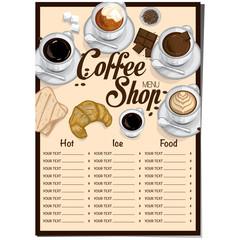 menu coffee restaurant template design hand drawing graphic