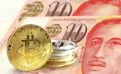 Bitcoin coins on Singapore dollar banknote, Cryptocurrency concept photo