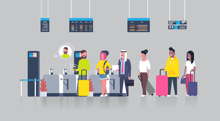 People Standing In Queue With Suitcases For Checking In Airport Passing Through Security Scanner For Registration Flat Vector Illustration