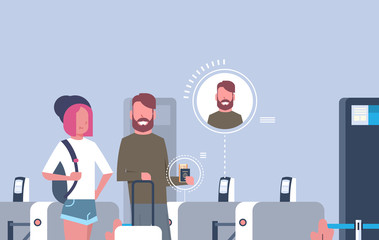Couple Of Tourists With Baggage Coming Through Scanners For Checking In At Airport Waiting For Registration Flat Vector Illustration