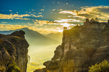 Sunset over Varlaam monastery in Meteora, Greece