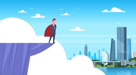Business Man Wearing Red Cape Standing On Mountain Edge Looking At Modern City Businessman Hero Flat Vector Illustration