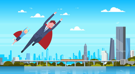 Business Man And Woman Wearing Red Cape Flying Over Modern City Businessman And Businesswoman Hero Flat Vector Illustration
