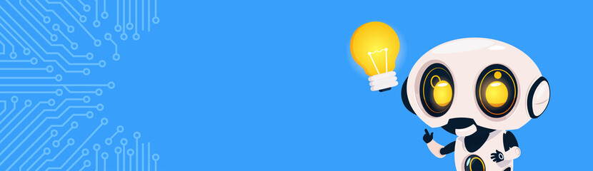 New Idea Concept Robot Hold Light Bulb Over Circuit Background With Copy Space Flat Vector Illustration
