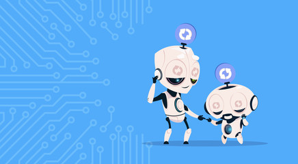 Wall Mural - Two Cute Robots Sleeping Updating System Programming Software Over Circuit Background Flat Vector Illustration