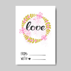 Cute Valentine Day Greeting Card Doodle Design Hand Drawn Love Postcard Vector Illustration