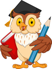 Cartoon owl holding pencil and book