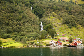Tuinposter Scandinavië Village in Norway