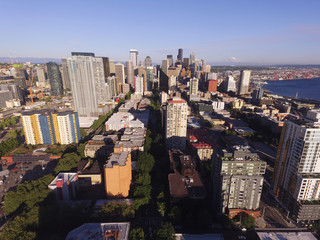 Aerial View Over Seattle Inter Urban Downtown City Skyline Buildings Waterfront