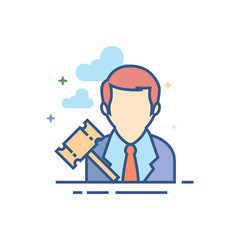 Auctioneer icon in outlined flat color style. Vector illustration.