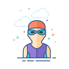 Swimming athlete icon in outlined flat color style. Vector illustration.