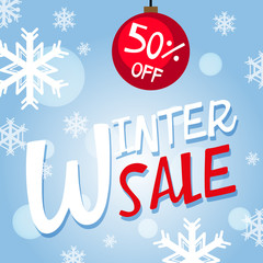 Winter sale poster design with snowflakes on blue