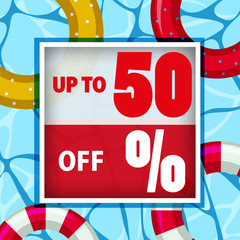 Sale poster design with floats on water