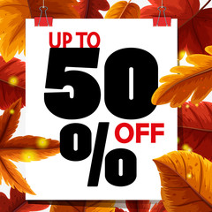 Sale poster design with autumn leaves