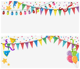 Two banner templates with lights and flags