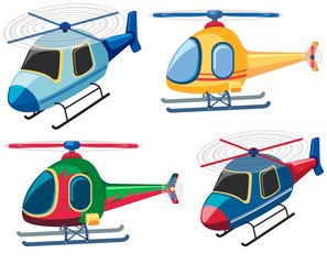 Four designs of helicopters