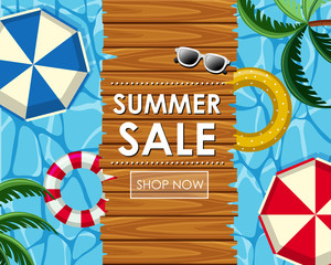 Summer sale poster design with floats and pool view