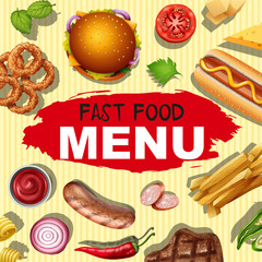 Background design with different menu for fast food