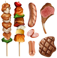 Different types of bbq and steaks