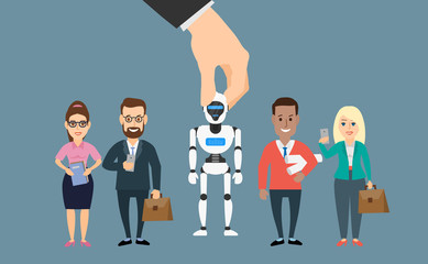 human hand picking robot android of  business people recruitment
