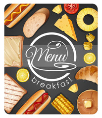 Menu design for breakfast with different food