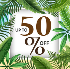Sale poster design with green leaves