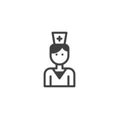 Nurse icon vector, filled flat sign, solid pictogram isolated on white. Medical worker symbol, logo illustration.