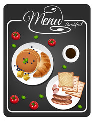 Menu for breakfast with toasted and pancake