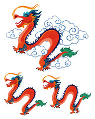Chinese dragons on white background