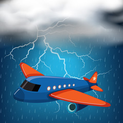 Airplane flying on stormy night with thunders and rain