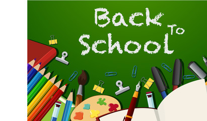 Back to school poster design with stationeries