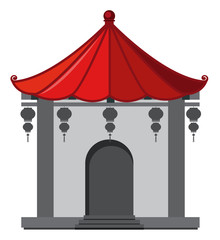 Building in chinese style with red roof