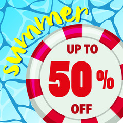 Summer sale poster design with round float on water