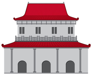 Chinese style building with red roof and gray wall