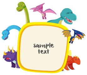 Border template with cute dinosaurs