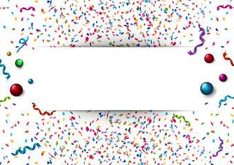 Banner template with colorful confetti