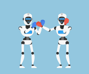 fighting robots in boxing gloves