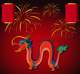 Chinese dragon and lantern with fireworks in background