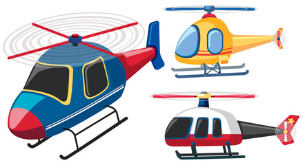 Three helicopters in different colors