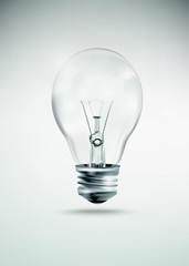 Light bulb idea illustration, realistic incandescent light bulb, burning light bulb
