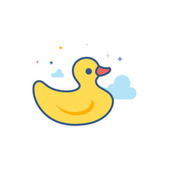 Rubber duck icon in outlined flat color style. Vector illustration.