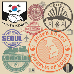 Travel or airport stamps or symbols set South Korea